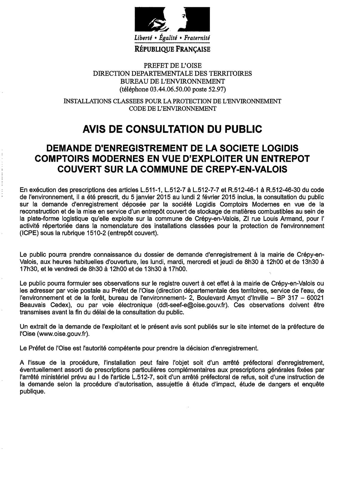 Crépy en Valois :  Avis de consultation du public