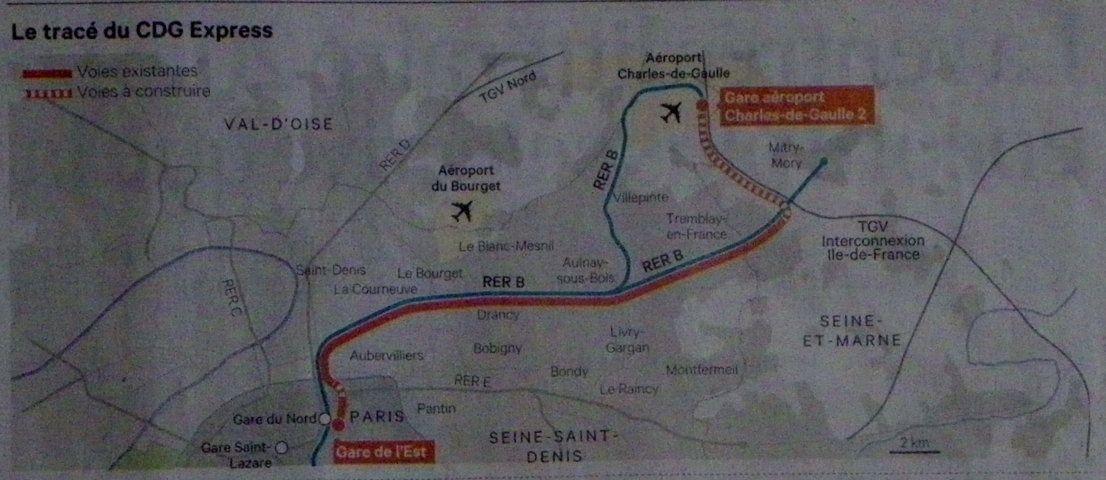 Le tracé du CDG Express