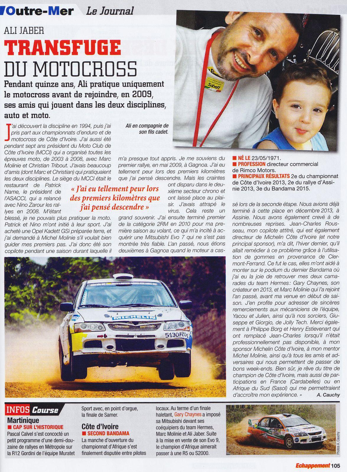Ali Jaber pilote de rallye en Côte d'Ivoire.....