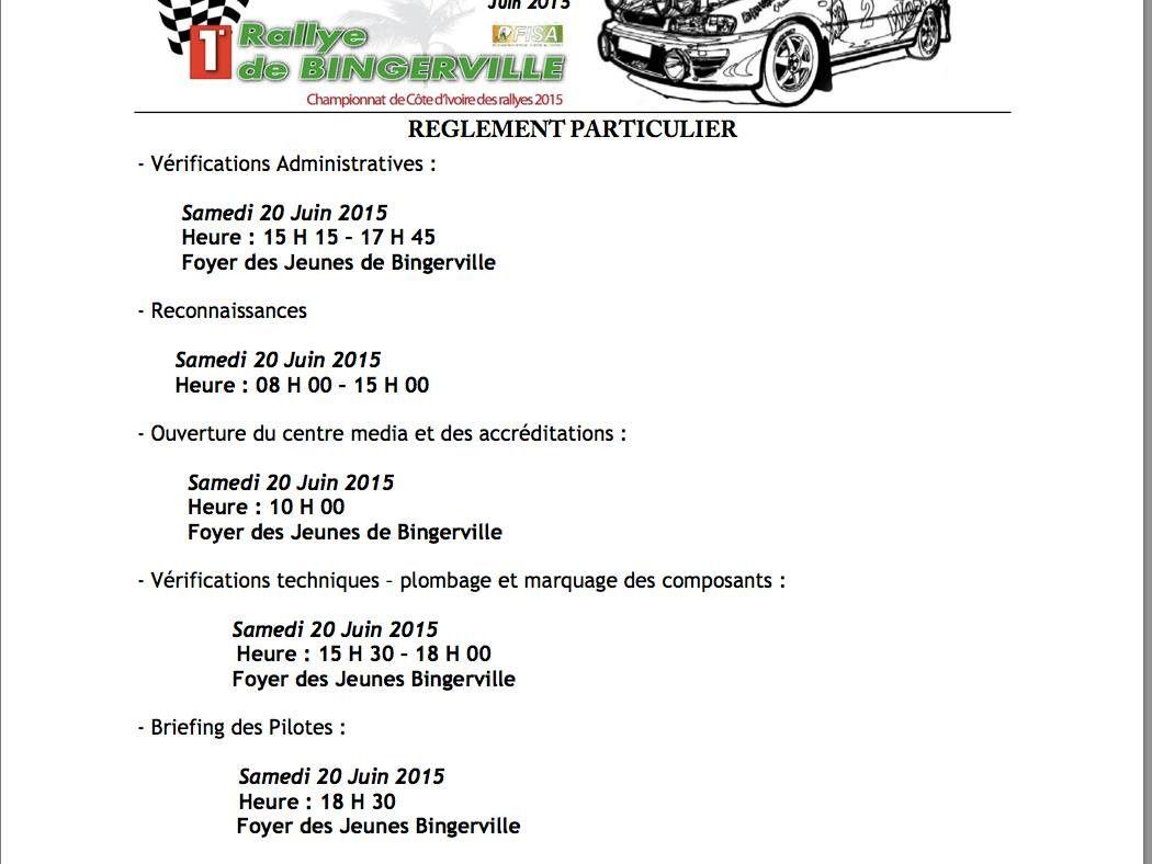 1er Rallye de Bingerville (20-21 juin).....