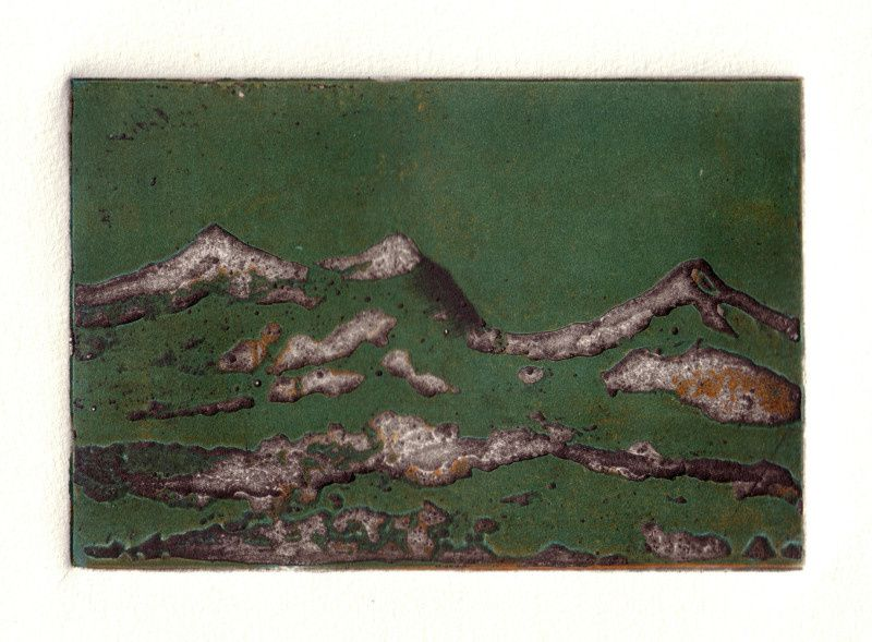 technique du crevé sur cuivre 14,5 x 10cm