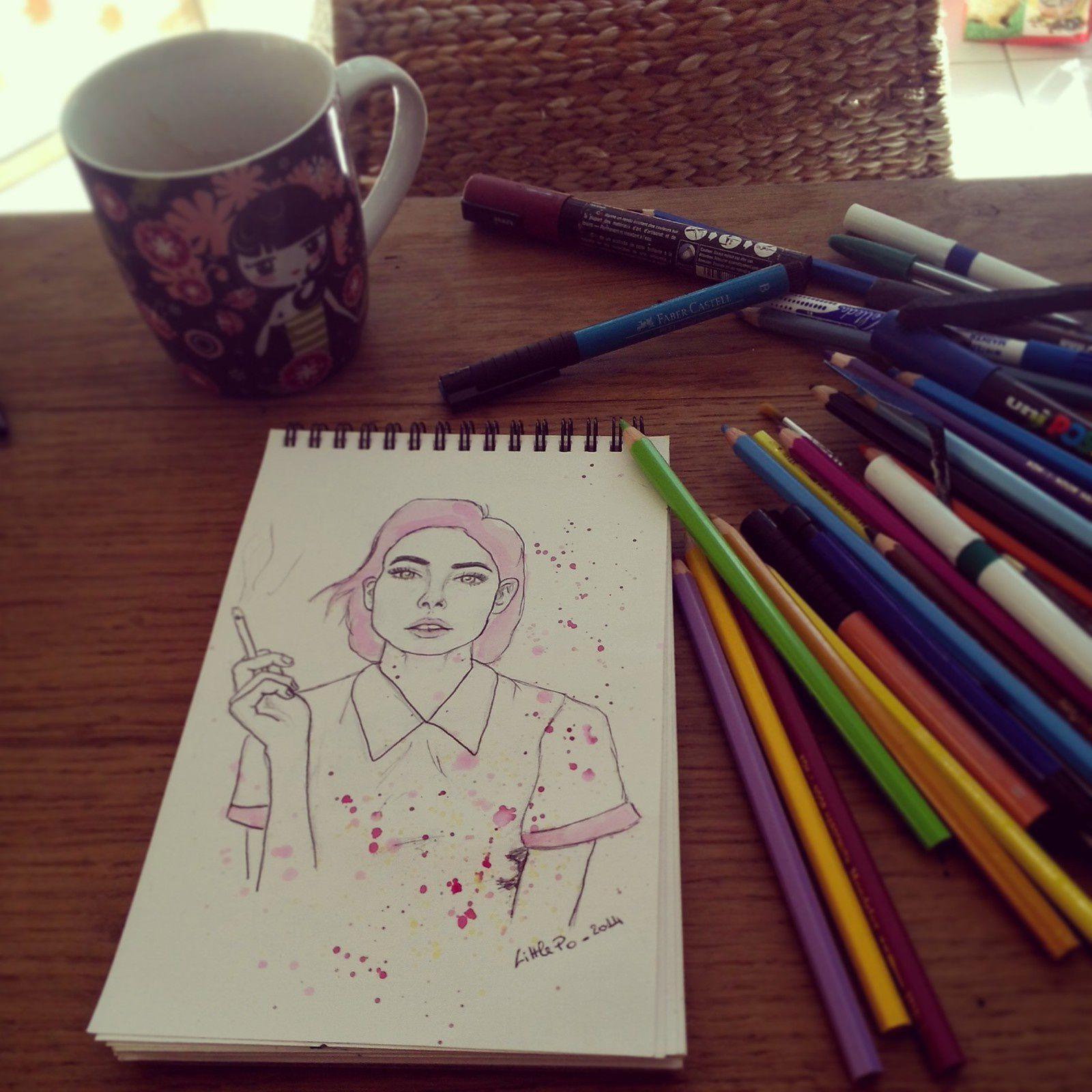 """inspirations: photographies de katarina plotnikova et 2eme photos trouvée sur pinterest (voir dans mon tableau """"inspirations"""")&#x3B; dessin bic et crayons aquarellables """"mondeluz"""""""
