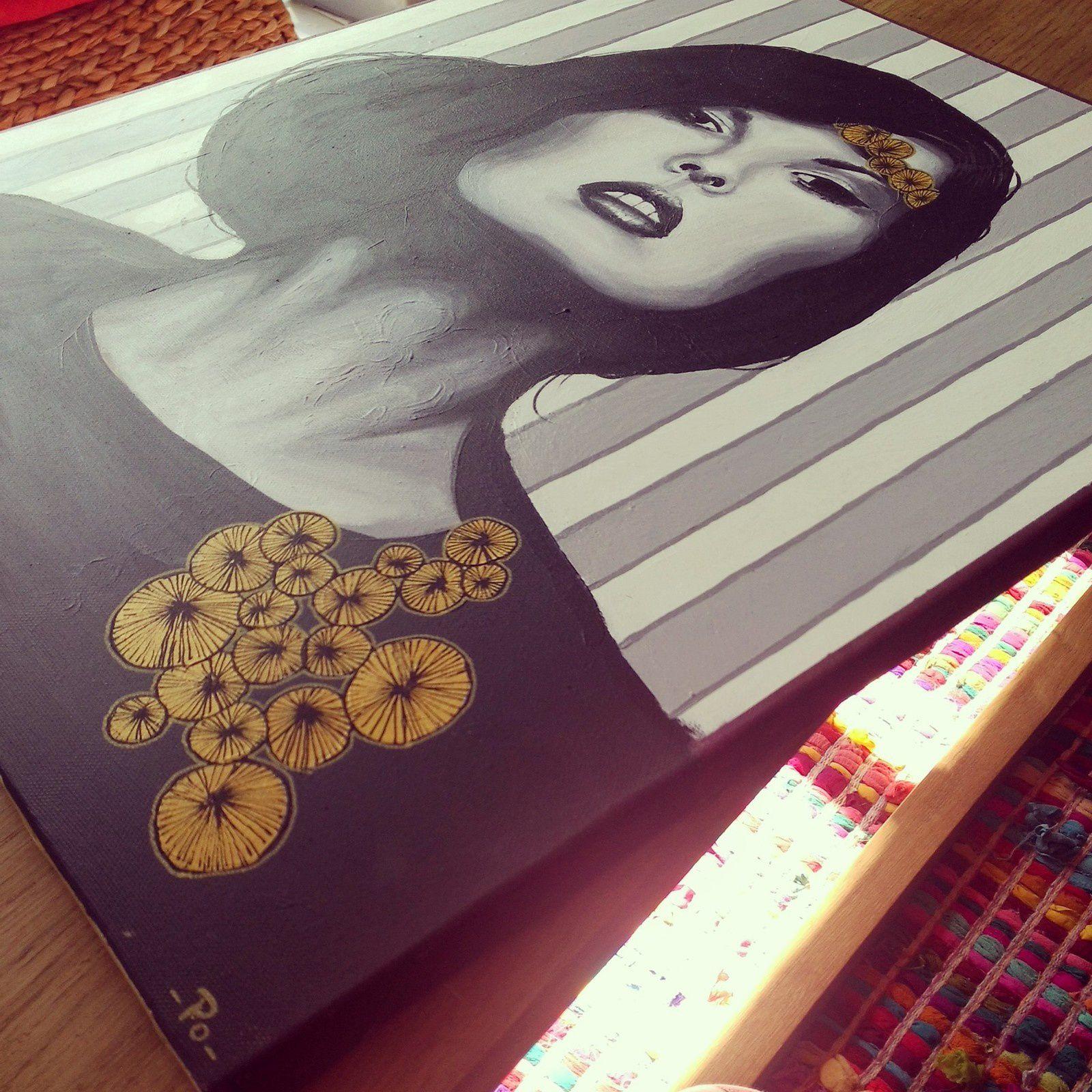 """""""emma""""portrait noir et blanc acrylique- 46x55cm-2014-faites défiler-"""