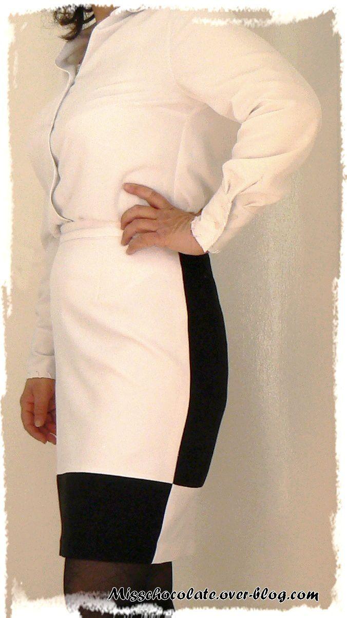 JUPE DROITE Noir et Blanc (modèle Séverine de Cousu Main)