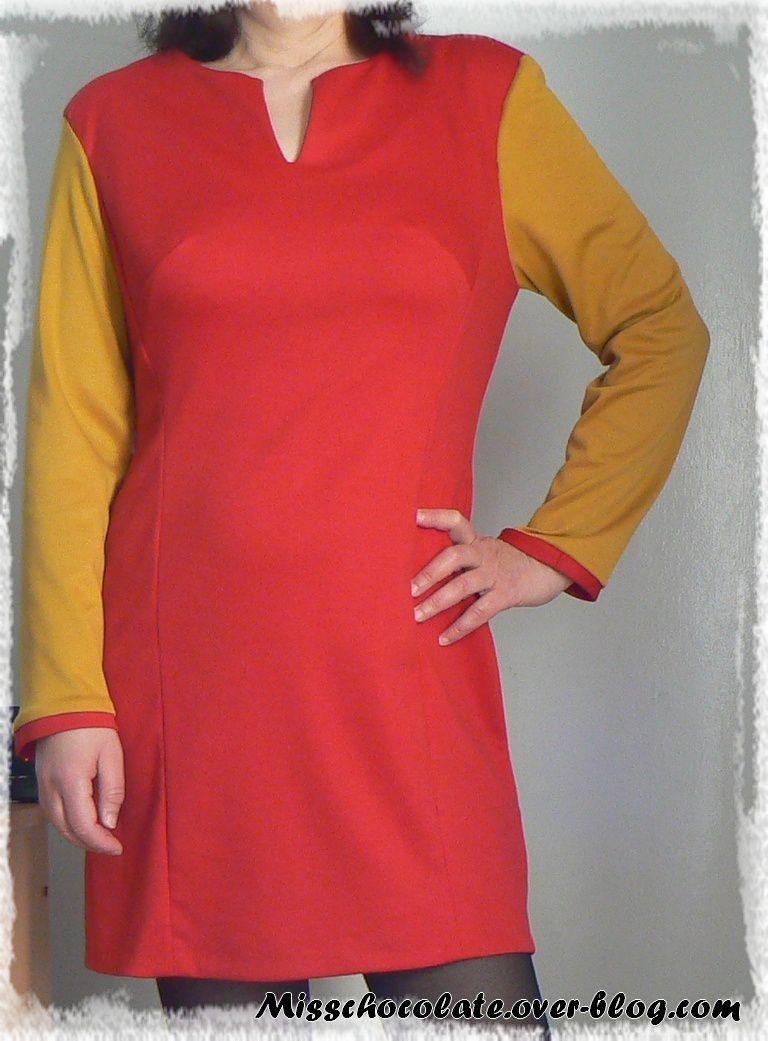 Robe bicolore (patron Mc Call 7014)