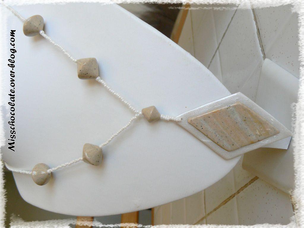 Parure fimo / polymère blanc nacré et &quot&#x3B;effet pierre&quot&#x3B; (tuto &quot&#x3B;Miva Créa&quot&#x3B;)