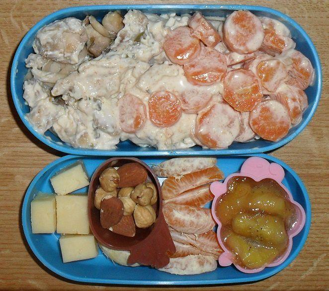 Bento #72 : poulet et carotte à la crème, tagliatelles aux marrons