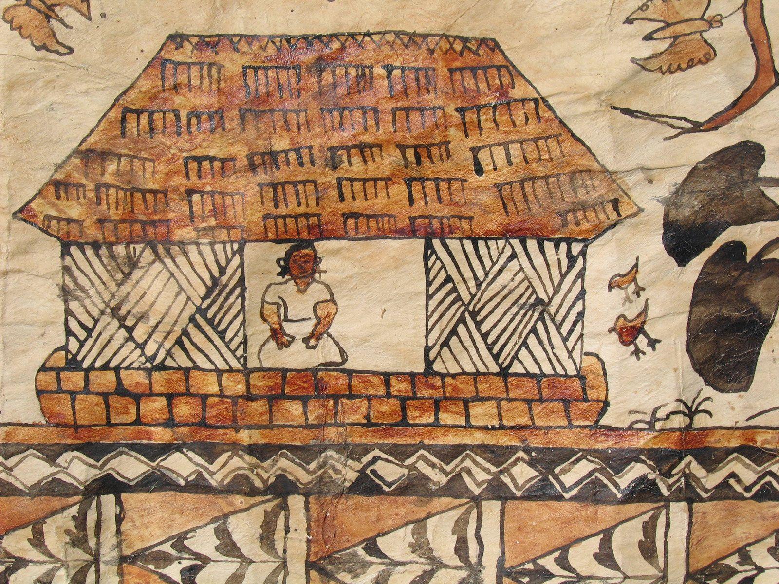 Tapa décrivant la vie locale de Kanaky. Environ des années 1950.