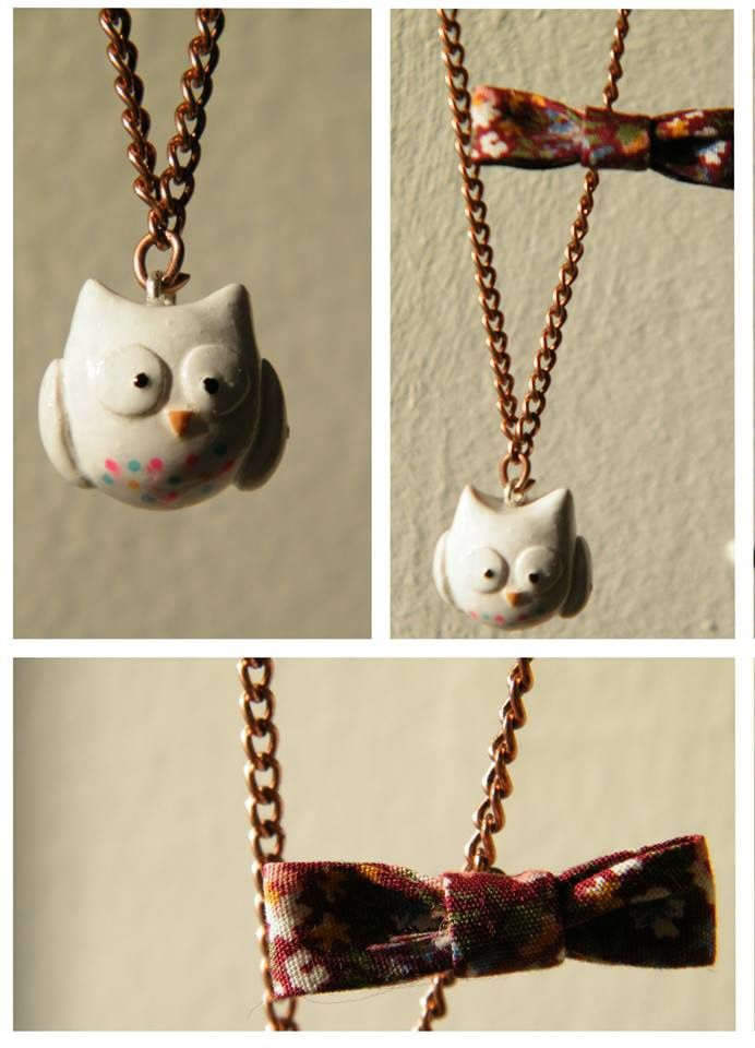 Collier kawaii hibou blanc
