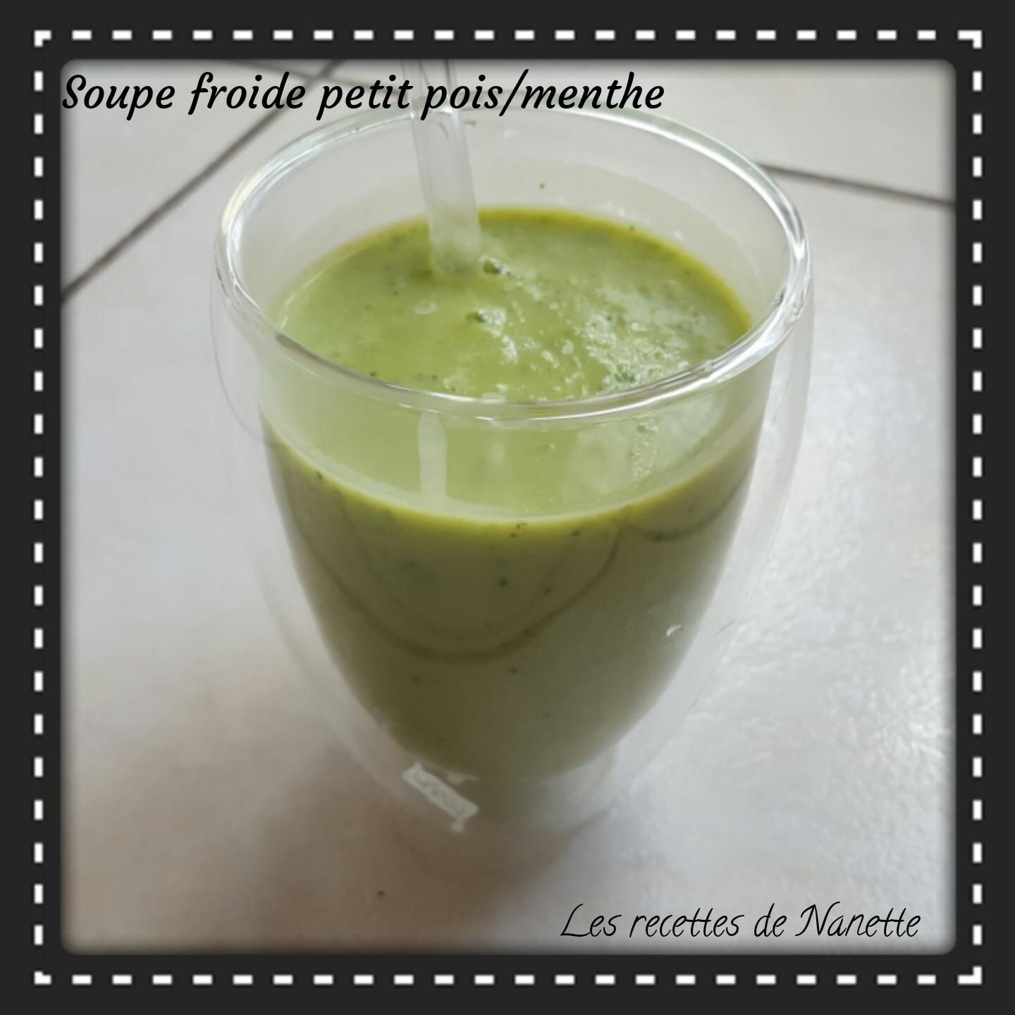 Soupe froide petits pois/menthe