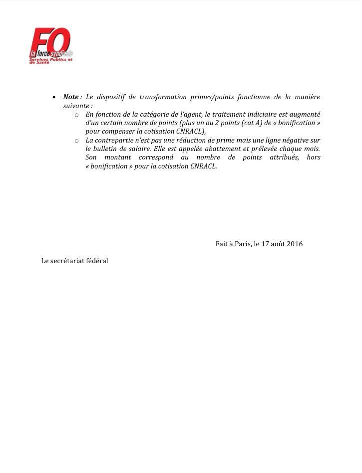 Circulaire fédérale : PPCR transfert primes/points