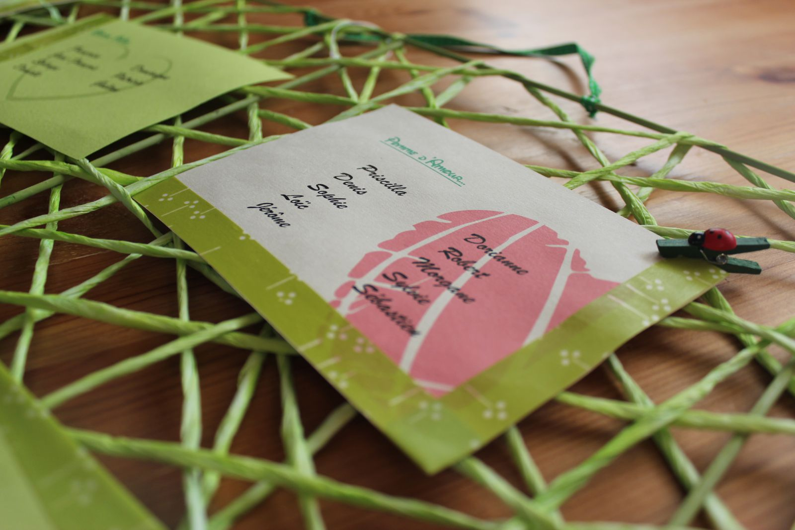 http://luniversdegarfield59.over-blog.com mariage plan table theme pomme vert ivoire