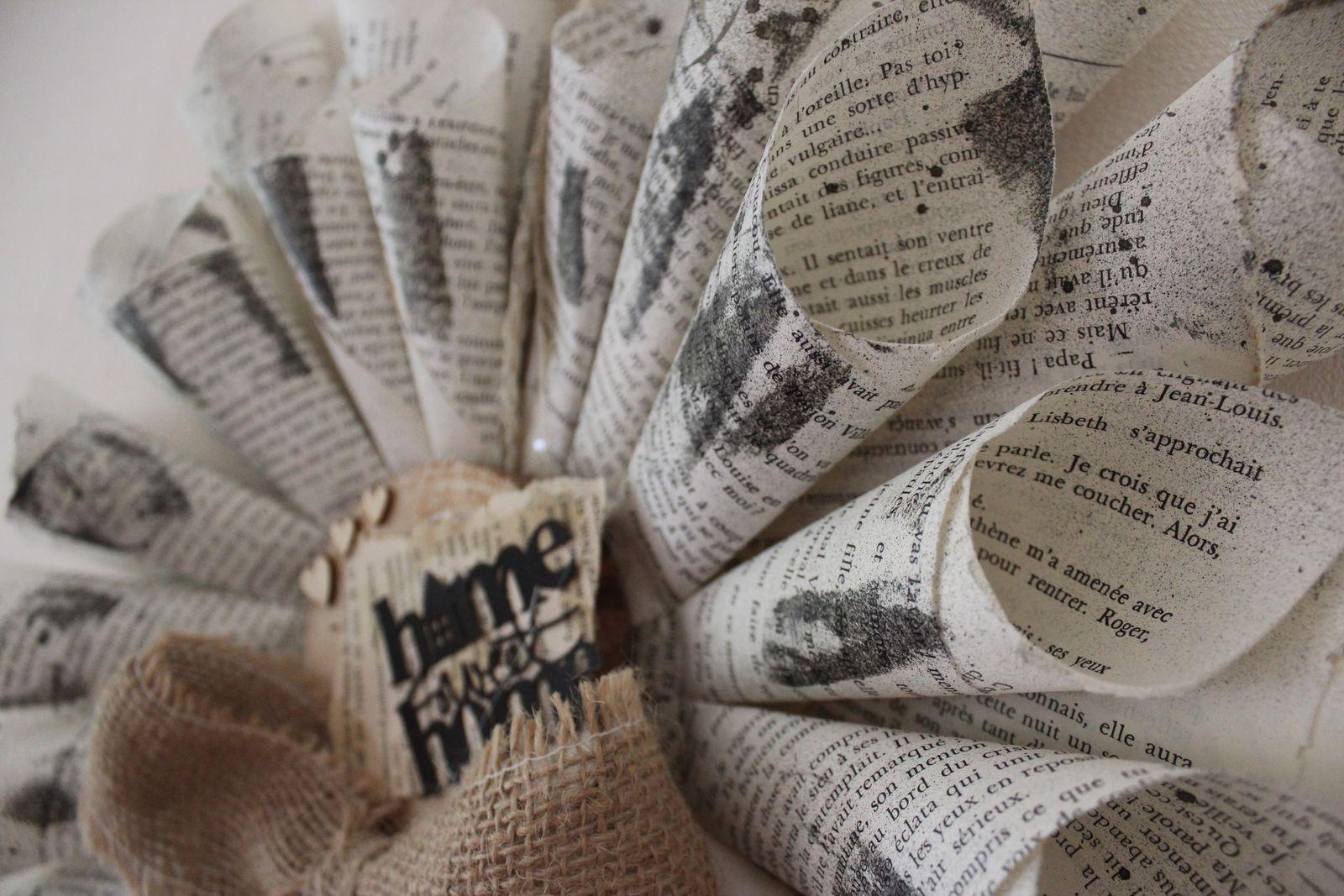 http://luniversdegarfield59.over-blog.com papier déco home sweet home feuille livre décoration naturel récup