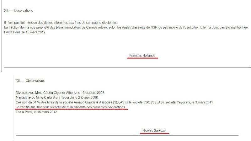 La déclaration de Hollande n'est pas certifiée sur l'honneur