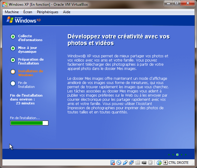 Installation de Windows XP