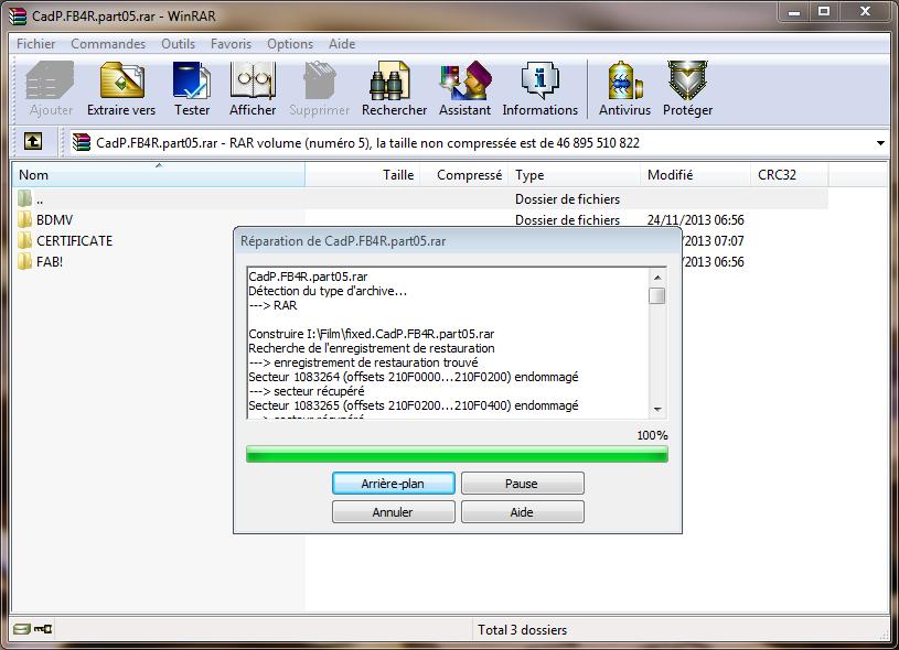 Réparer une archive endommagée avec WinRar