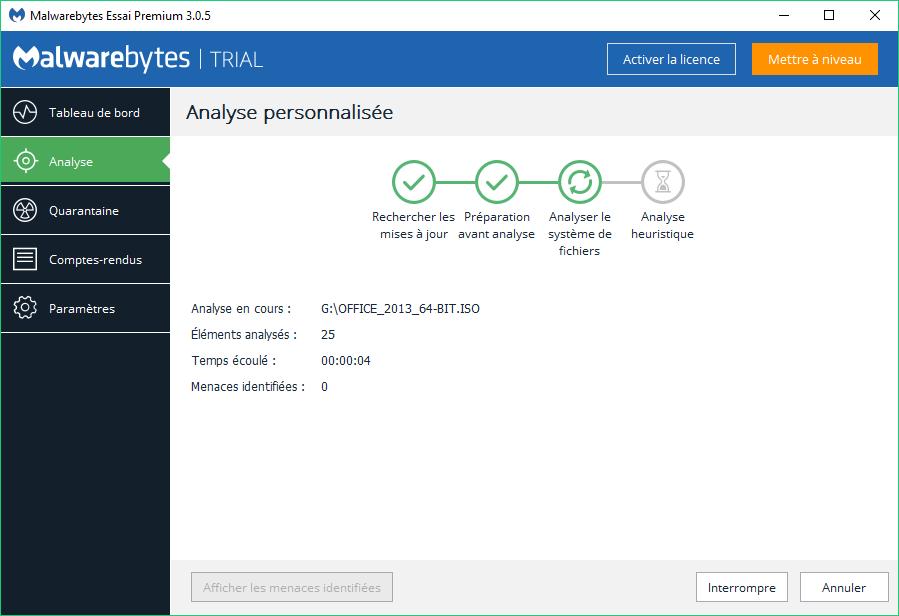 Malwarebytes: 3.1. Différents types d'analyses