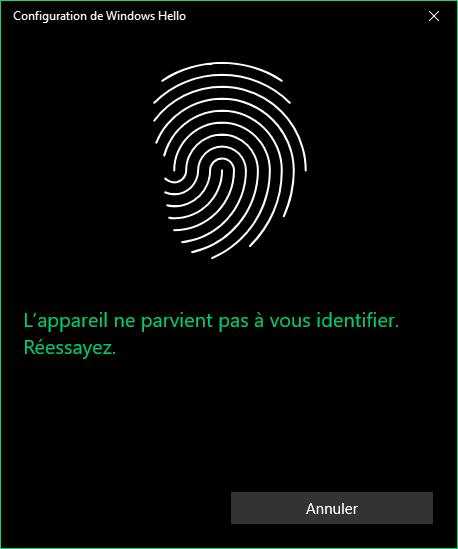 Démarrer Windows 10 avec un lecteur d'empreinte biométrique