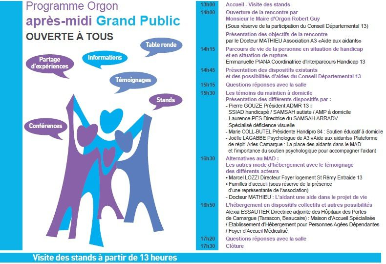 Journée Nationale des aidants l'ADMR participe à un temps fort organisé à Orgon le 6 octobre 2015 au FOYER RURAL