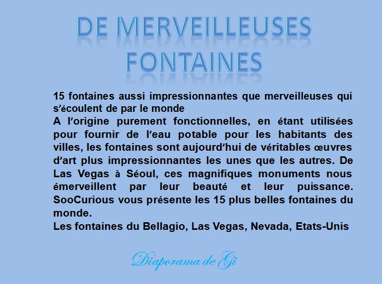 De merveilleuses fontaines