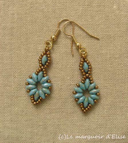 Superduo Flower chain earrings
