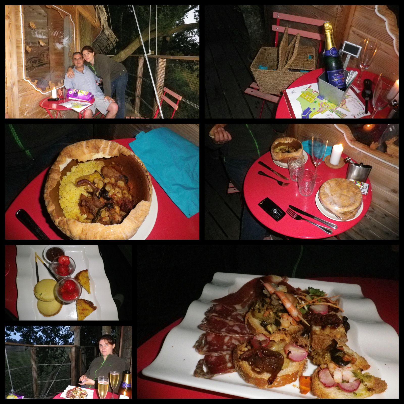 Le repas était très copieux, et délicieux, au menu : Champagne, Tapas, tajines restées chaudes alors qu'on ne les a pas mangées de suite, et en dessert de très bonnes miniardises ! On s'est régalés !!!!