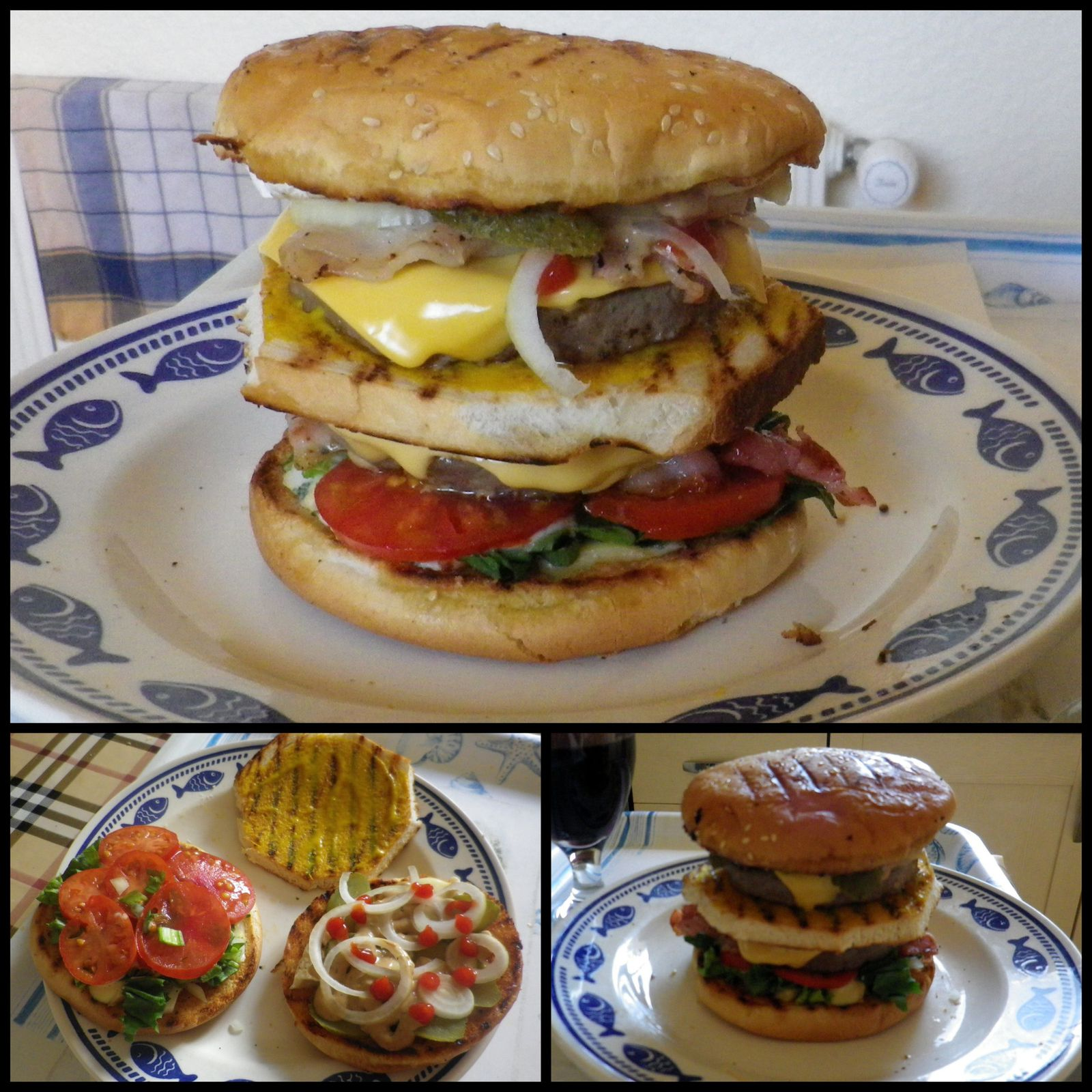 Hummmmm, les Bons Burgers Maison fait par mon cher mari.... Avec tomates et salades du jardin !