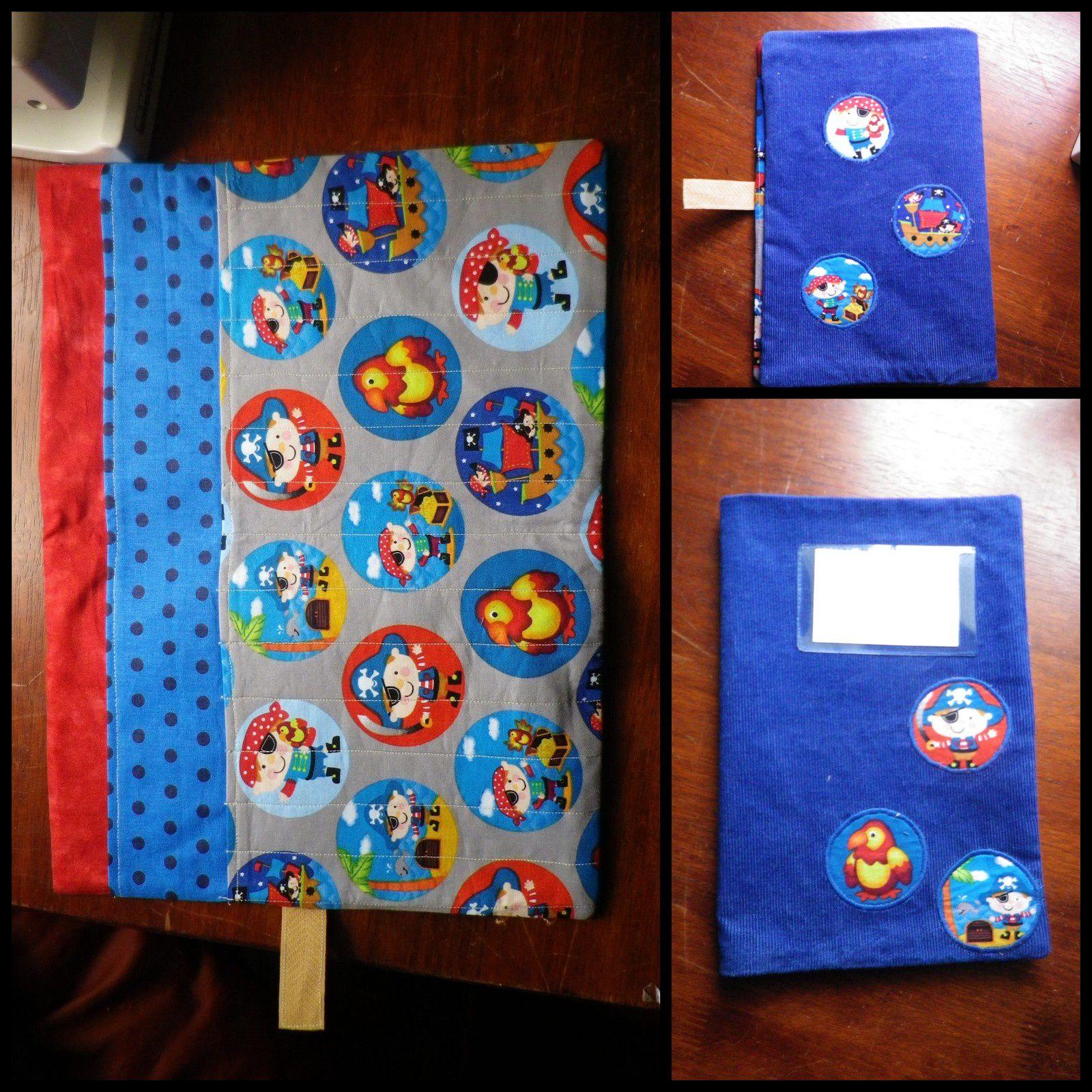 Version pirate pour mon neveu Axel (extérieur en velours milleraies bleu roi, et tissus thème pirate de la mercerie à côté de chez moi)