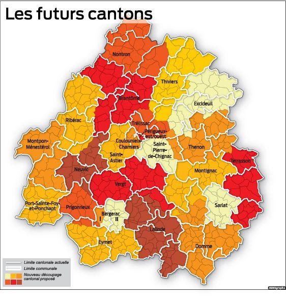 Carte des futurs cantons de la Dordogne