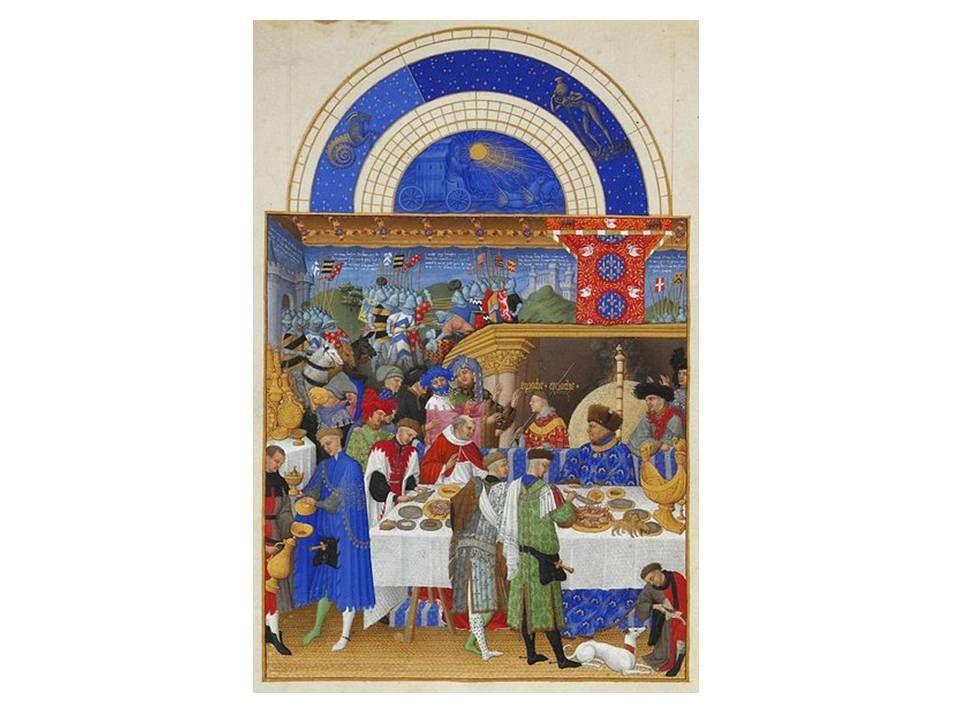 Le mois de Janvier (1412-1416) Le duc de Berry vêtu de bleu et coiffé d'un bonnet de fourrure est assis à sa table. L'un de ses serviteurs nourrit un lévrier blanc.