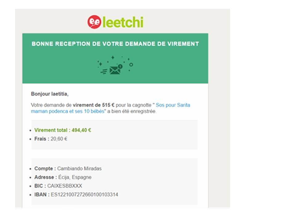 Le déblocage de la cagnotte Leetchi ... versée directement sur le compte du refuge de Cambiando Miradas