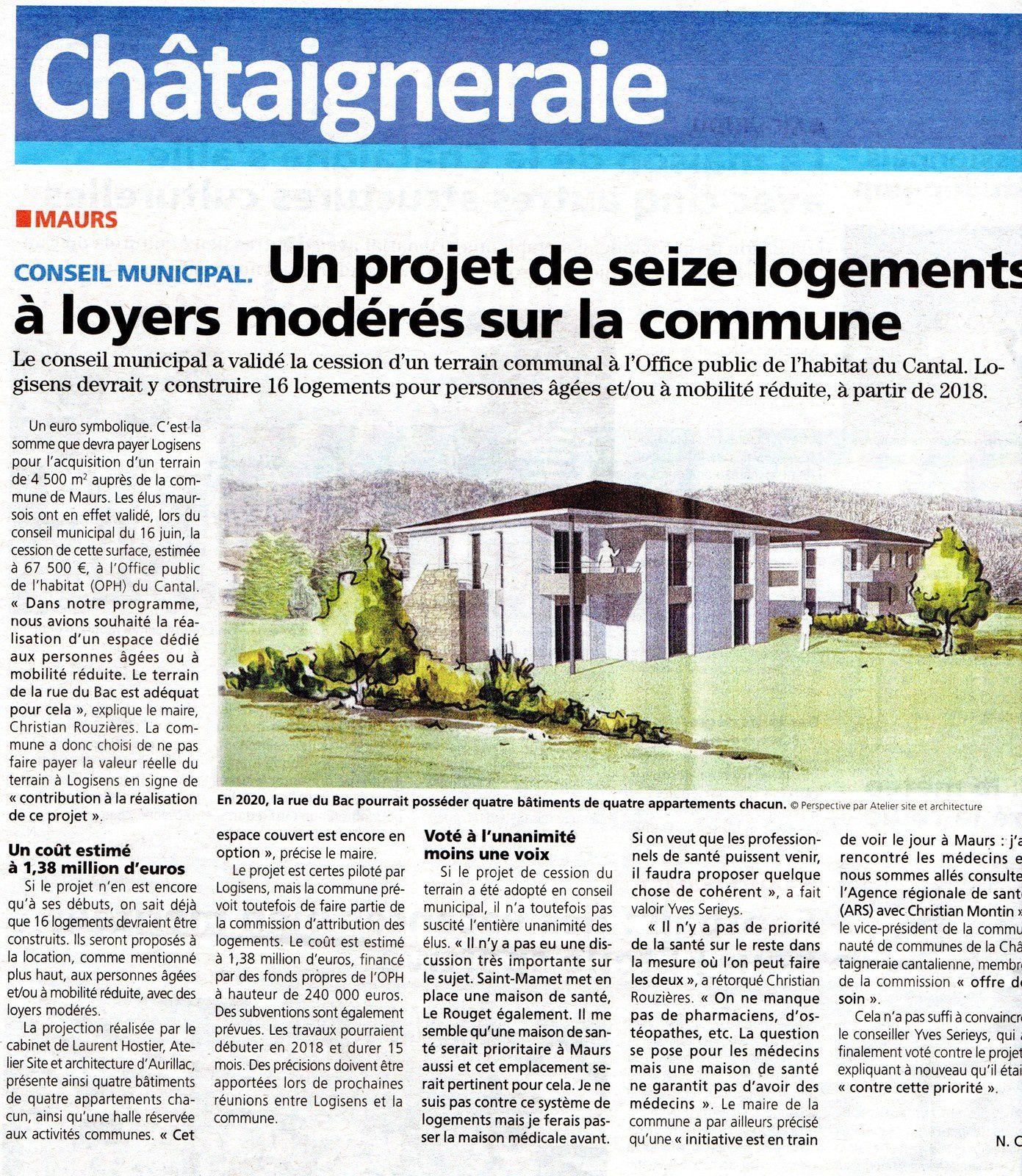 [Presse] - Seize nouveaux logements en projet sur Maurs