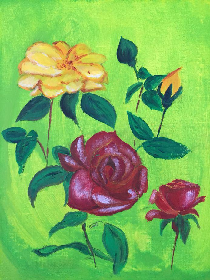 Roses à l'acrylique
