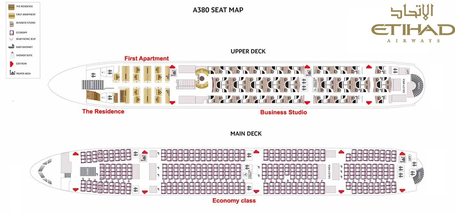 Le plan int rieur de la concurrence etihad airways af for Plan interieur
