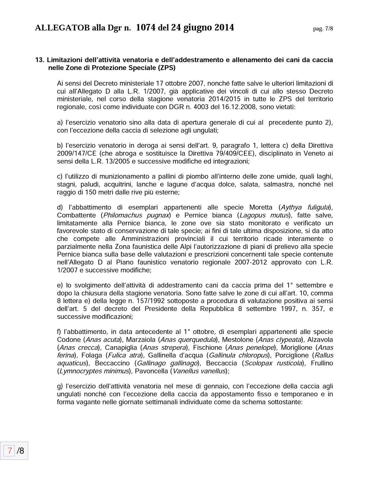 Calendario Venatorio Veneto 2014/2015