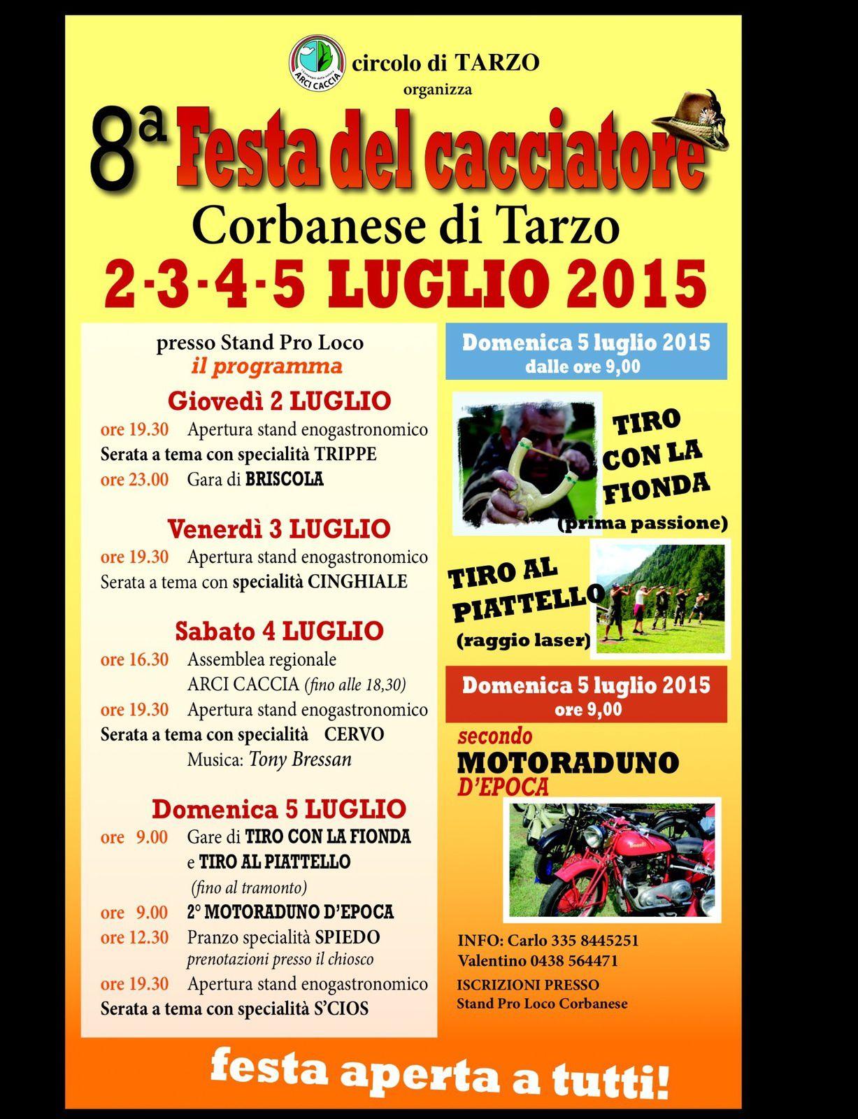 Arci Caccia. Festa del cacciatore a Tarzo(TV) dal 2 al 5 luglio