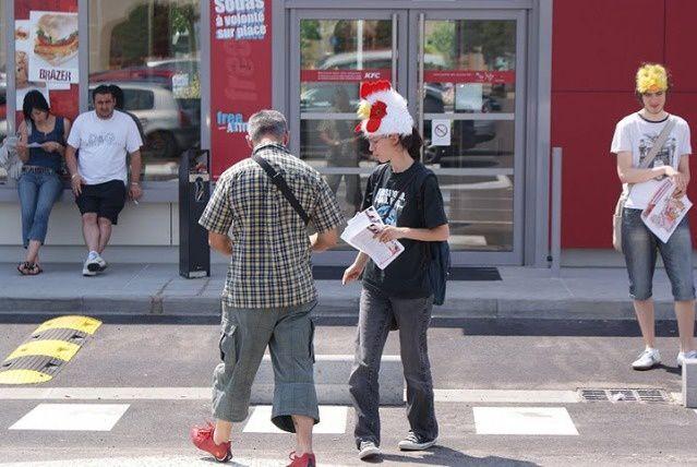 Manifestation devant KFC - Metz Sémécourt