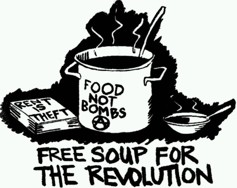 Food not bomb + projection Earthlings
