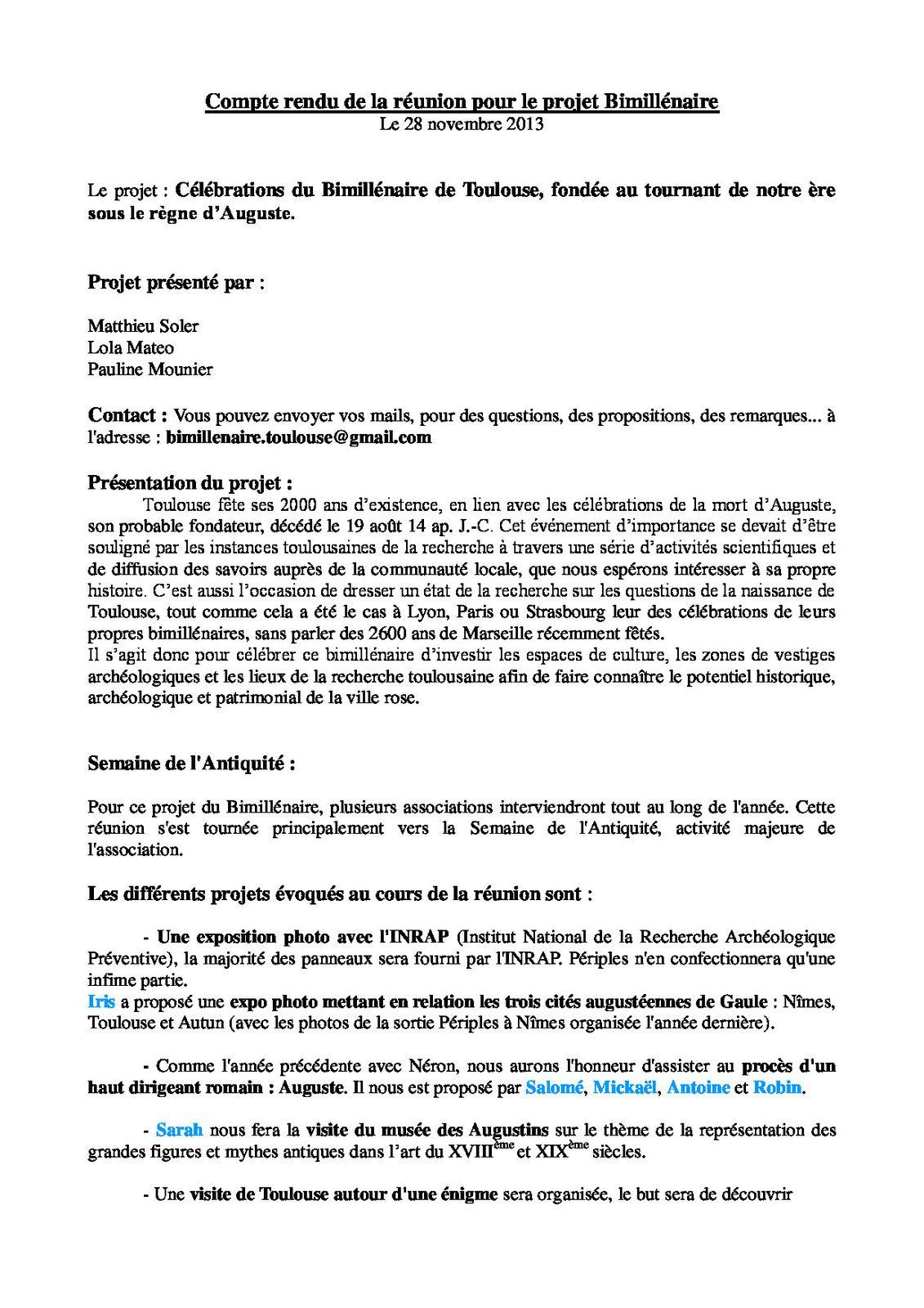 Compte-rendu de la 1ère réunion du projet &quot&#x3B;Bimillénaire&quot&#x3B; 28.11.13