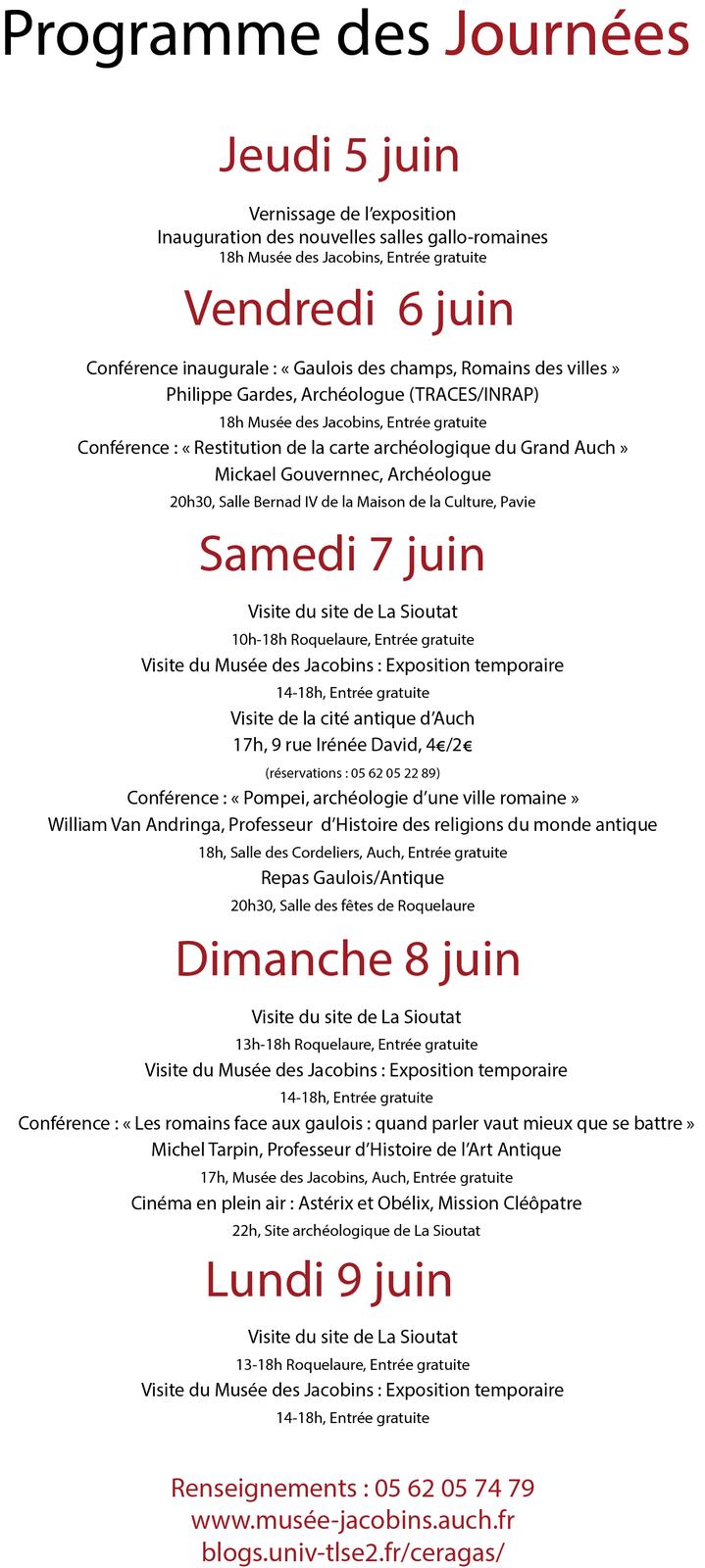 Journées de l'Archéologie 2014 du 5 au 10 juin à Roquelaure et Auch