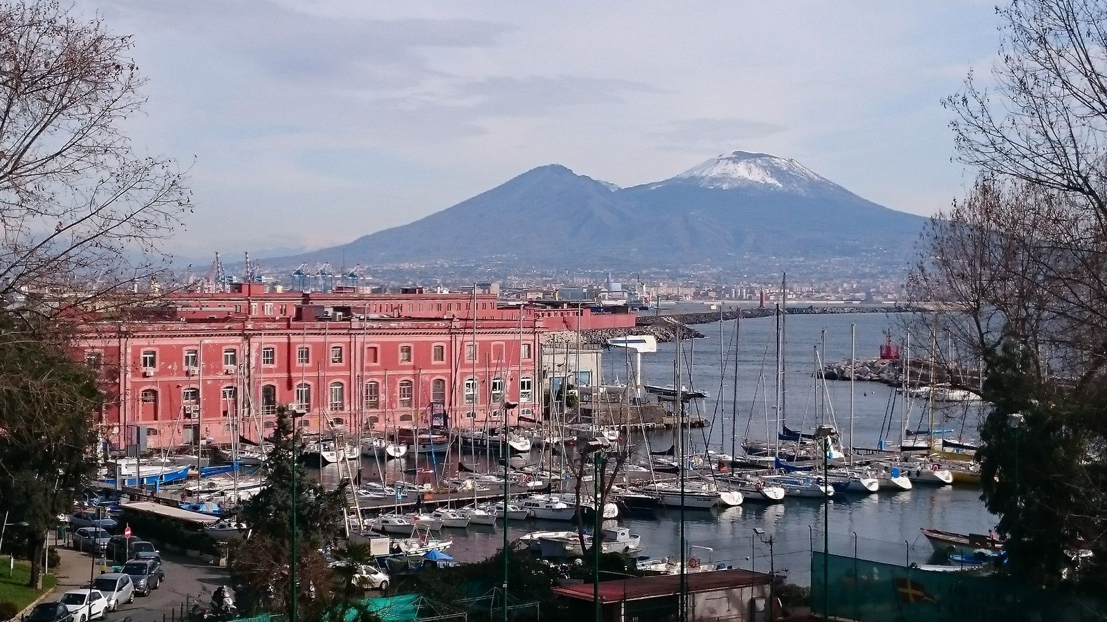 Le port de Naples et le Vésuve enneigé.