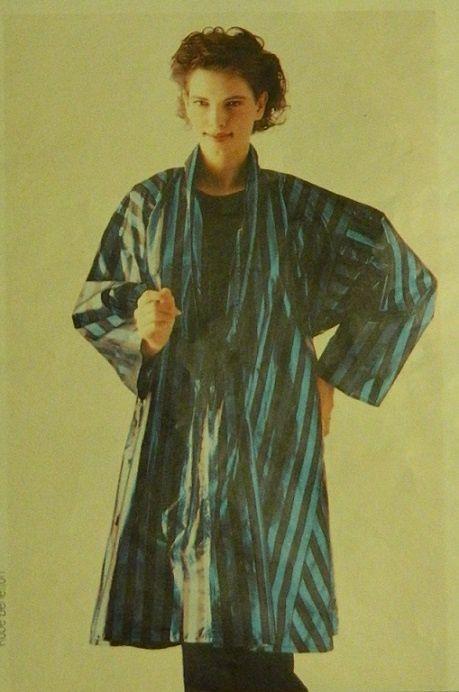 Voilà le manteau/chemisier réalisé dans un joli tissu lamé rayé
