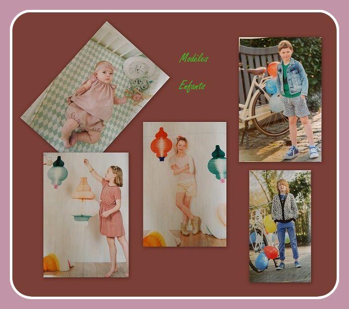 les modèles enfants : Angel (pour bébé) &#x3B; top Uma et robe Liz pour les filles, cardigan Woody et short Cyriel pour les garçons