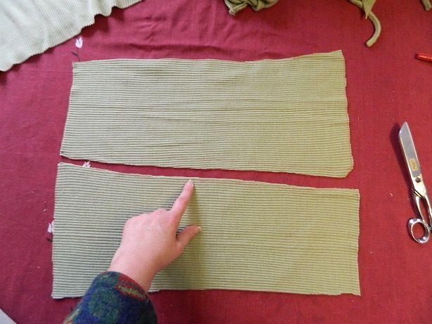 mettre les 2 morceaux tête bêche afin d'obtenir un vrai rectangle de 37 cm de large