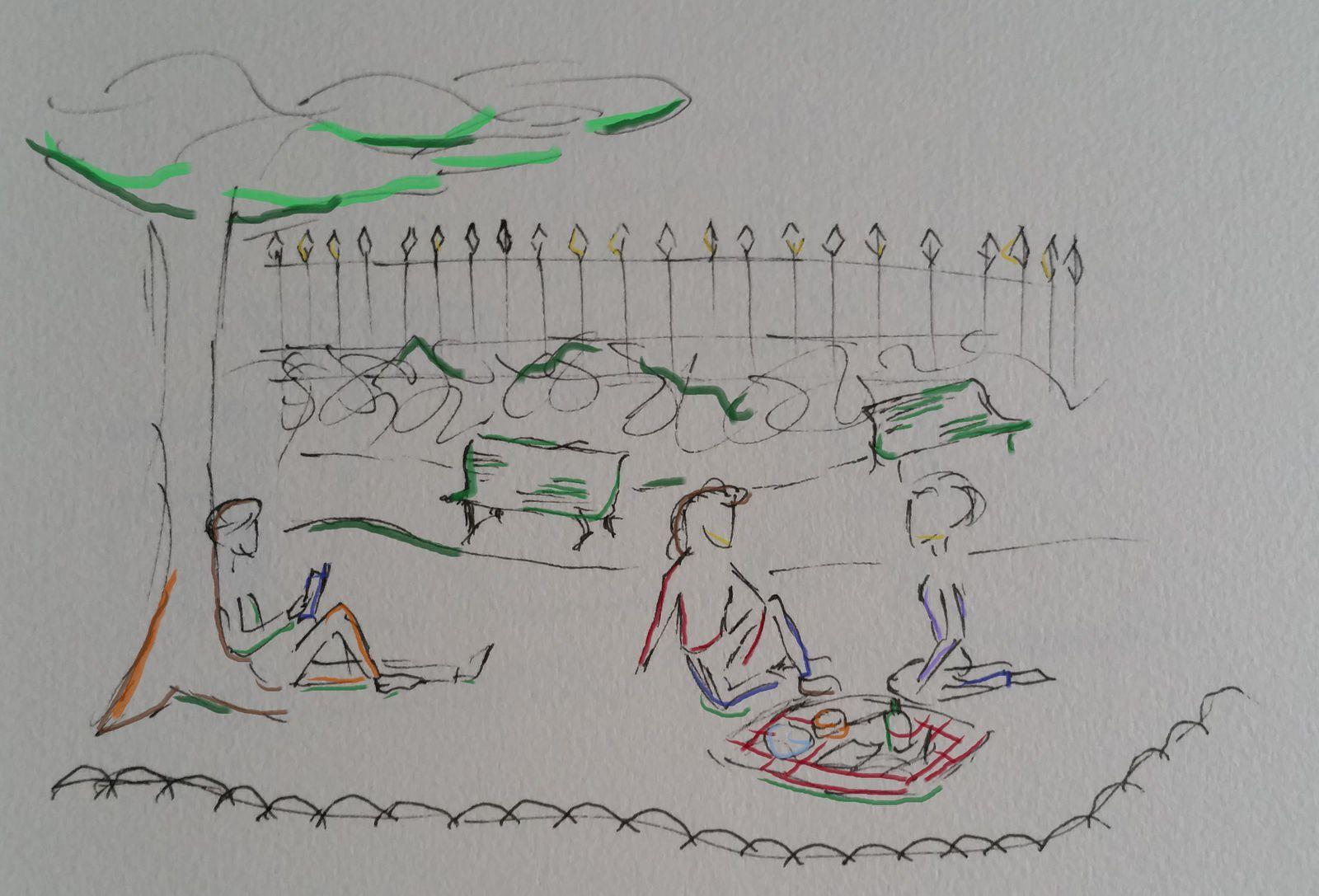 ... Dans les parcs, les flanneurs profitent du beau temps ...