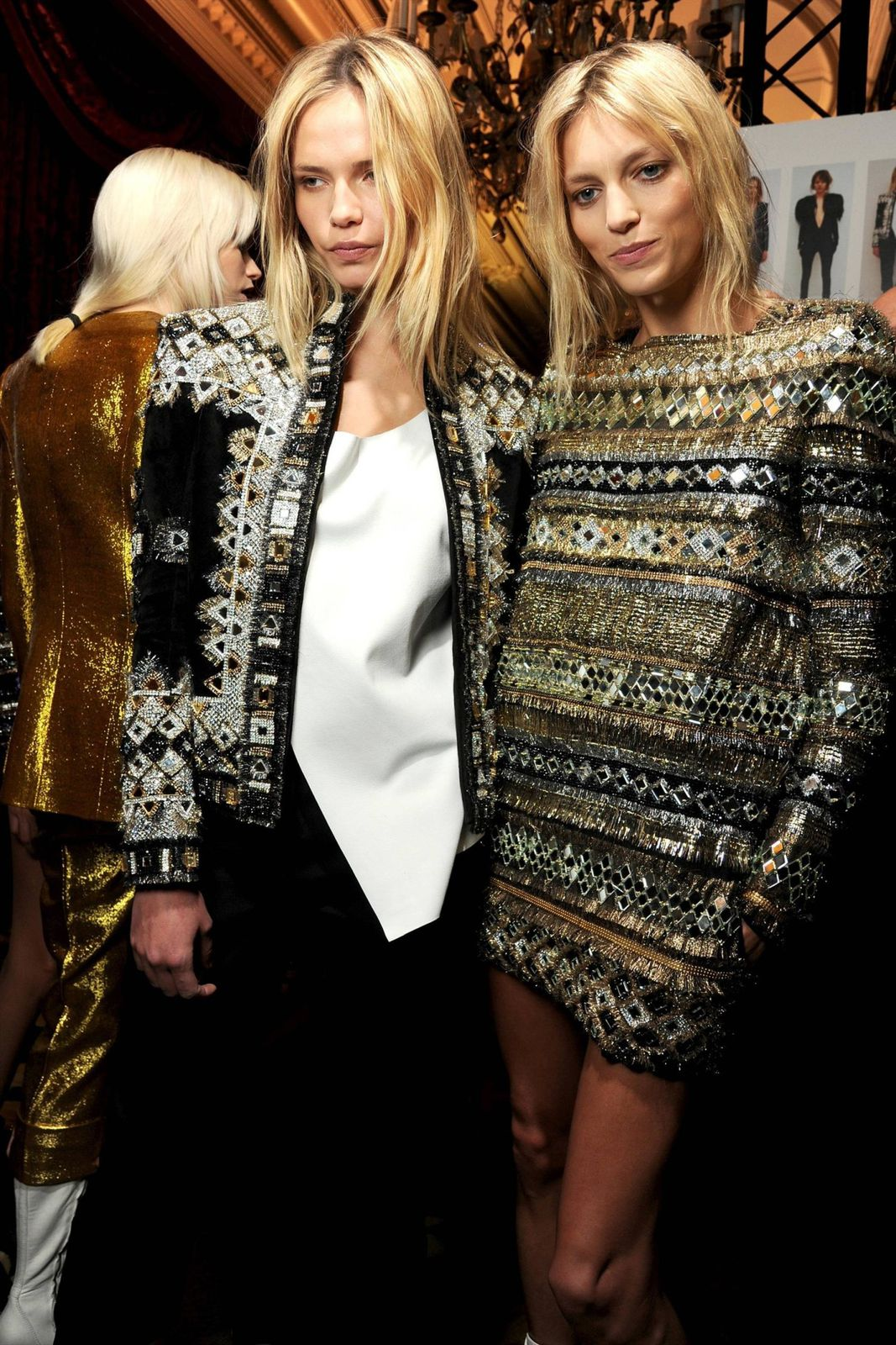 Fashion models, Natasha Poly, Anja Rubik, Paris Fashion Week, Balmain
