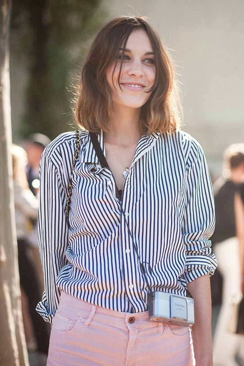 Blue And White Striped Womens Shirt