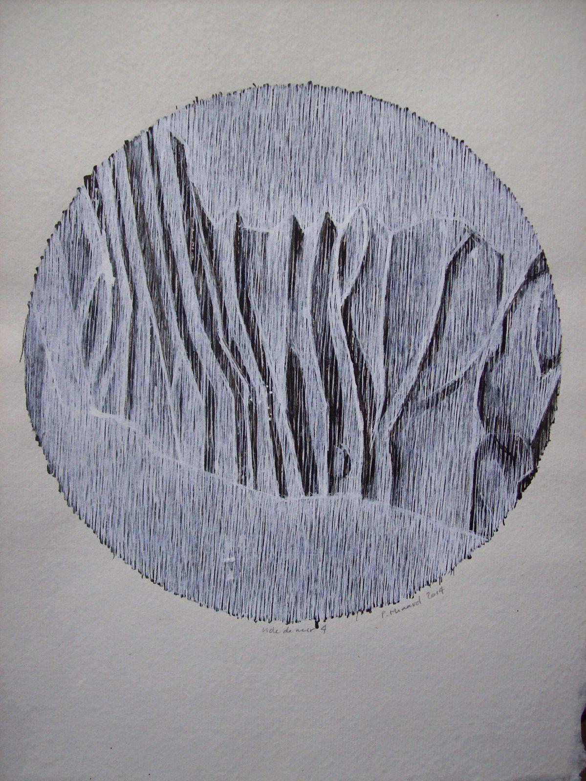 Encre de Philippe Minard (2014) inspirée de marques de rivage.