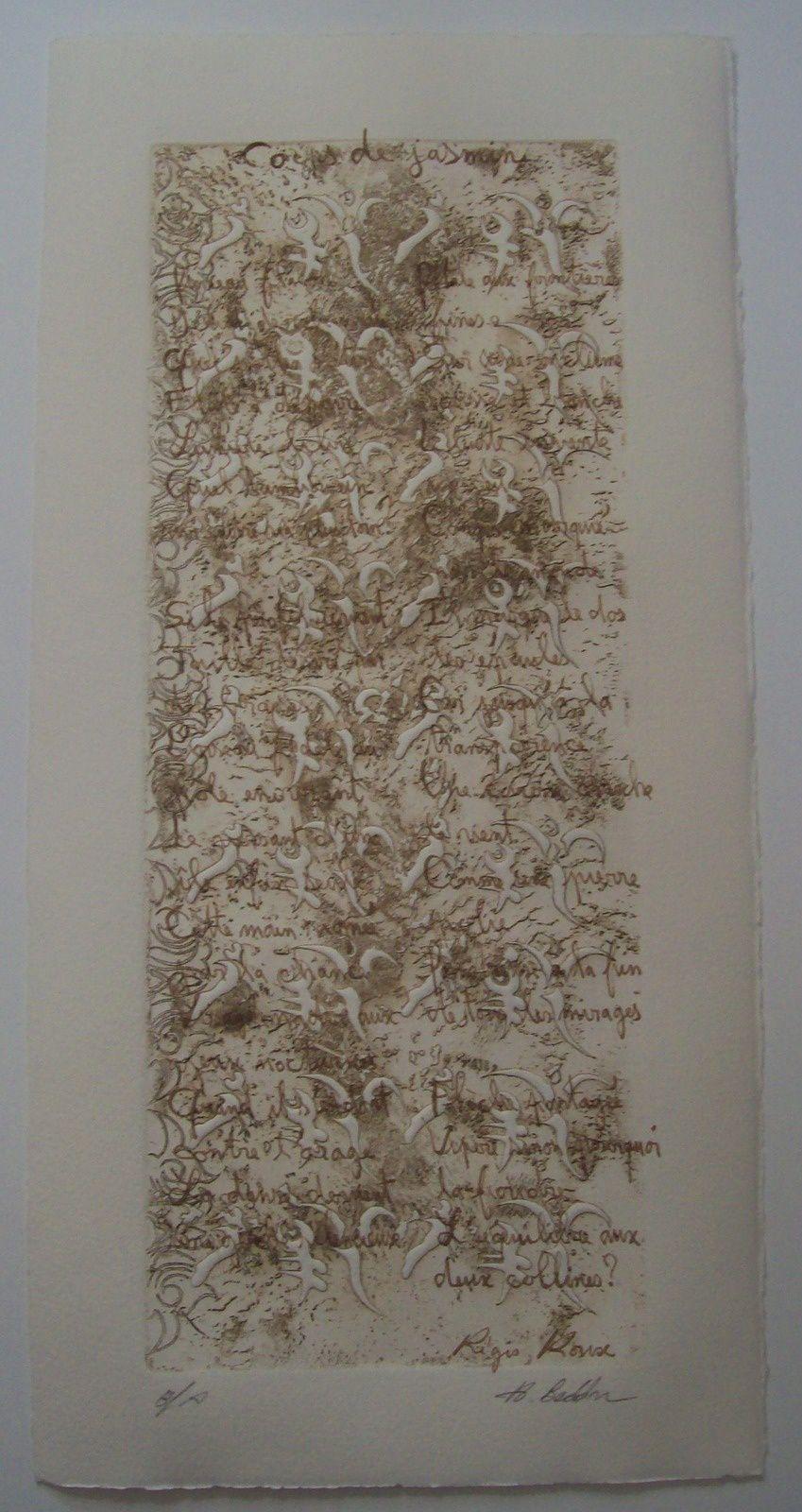 CORPS DE JASMIN; 2014 -écrit en 2013 (poèmes de Régis Roux, d'après des peintures d'Hakim Beddar/ Gravure d'Hakim Beddar)