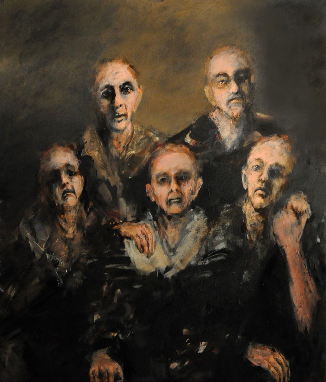 """Toile de Pascale Vergeron, """"La famille touchée"""", 2015. Site de l'artiste:   http://www.pascalevergeron.com/galleries/view/2"""